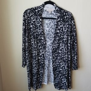 Laura Ashley long cardigan, like new, XL blk/wht